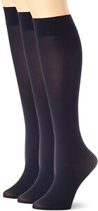 HUE 237899 Womens Soft Opaque Knee High Socks Pack of 3 Solid Navy Size 1