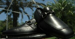 GUCCI man's horse bit ribbon detailed black leather Loafers shoes Size 8 D