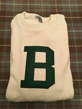 Berkshire School Sweater, Cotton, Cream with Green Embroidered B, Men's LG