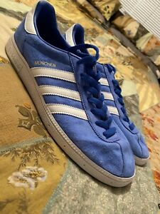 Adidas Originals Munchen UK Size 11 Trainers Blue White - Football Casual