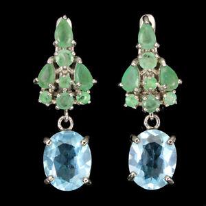 Oval Sky Blue Topaz Emerald 14K White Gold Plate 925 Sterling Silver Earrings