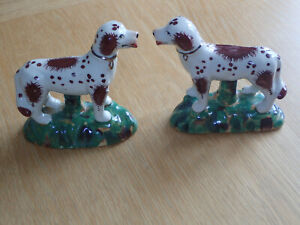 Pair small Antique ceramic 19th century Staffordshire dogs standing