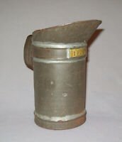 Antique Vtg 19th C 1800s Hand Made Tin 1 Pint Canadian Measure Pitcher Brass Tag