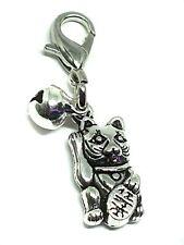 Maneki Lucky Cat Charm Purse Bag Pet Collar Silver Bell Witch Metal Large Clip