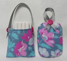 Handmade chalkboard chalk holder & matching eraser. Laura Ashley cotton fabric.