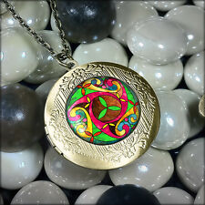 Colorful Irish Stained Glass Celtic Tiffany Window Design Bronze Locket Necklace