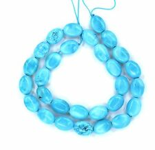 """16"""" Turquoise Howlite Flat Oval ~29 Beads 10x14mm K4919"""