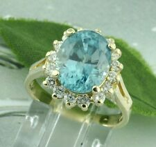 5.59 ct 14k Solid Yellow Gold Ladies Natural Blue Zircon  Diamond Ring cocktail