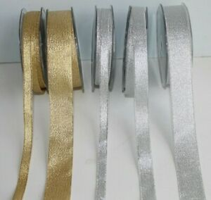 Gold or Silver Lurex Glitter Ribbon Gift Wrap Cake Edge * Width, Length Choices