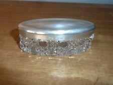 Antique Sterling Silver Lidded Glass Dressing Table Pot - Birmingham - 1917