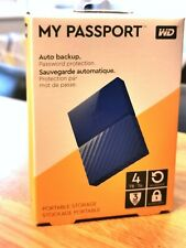 WD Western Digital My Passport 4TB BLUE Portable Hard Drive BRAND NEW & SEALED