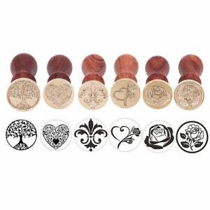 Retro Wooden Brass Tree Rose Heart Seal Wax Stamp Invitation Card Envelope Decor