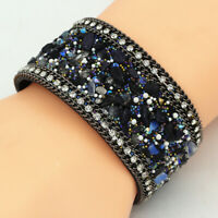 Womens Natural Stone Crystal Chain Genuine Leather Bangle Wide Bracelet Cuff