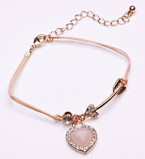 STUNNING SALMON PINK ROPE BRACELET SPARKLY RHINESTONE-ENCRUSTED HEART (CL18)