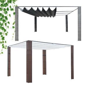 vidaXL 3x3/4x4M Pavillon Pergola mit Dach UV-Schutz Wasserfest Stahl & PE-Rattan