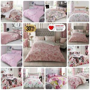 Pink Duvet Set Flowers Bedding Roses Quilt Cover & Pillow Cases Single Double