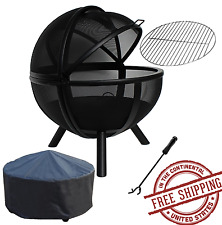Sphere Fire Pit Backyard BBQ PatioBall Steel with grill and cover New Free Ship