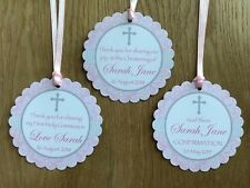 Cross Thank You Tags ~Pink~ Christening, Baptism, Confirmation, Holy Communion