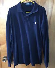 Polo Ralph Lauren Men's Navy Blue Cotton Long Sleeve Knit Polo Shirt L Euc