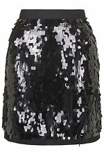 BNWT Topshop Petite Limited Edition Black Sequin Feather Skirt Size 4 , RRP £95