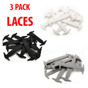 3pk Kids Adult Elastic Shoe Laces Silicone No Tie  Easy Lazy String Rubber UK