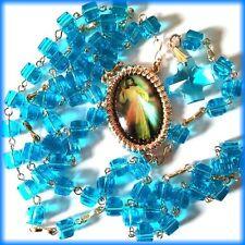 Rosary Catholic Beads Necklace Cross Crucifix Vintage Blue Cube Zirconia Prayer
