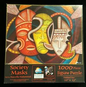 SunsOut Jigsaw Puzzle Society Masks 1000 Piece Art by Marcella Muhammad USA