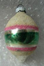 "Vintage Glass Christmas Ornament 3"" Shiny Brite Teardrop Green Pink Glitter"
