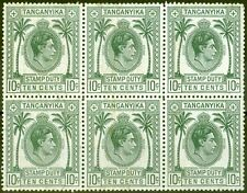 More details for tanganyika 1950 10c stamp duty in a fine mnh block of 6