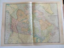 """Antique 1899 Color Map British America Canada 22"""" X 16"""" #4164"""