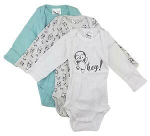 3er Set Baby Jungen Body Langarm Unterwäsche Türkis Weiß 68 74 80 86 92 98 104
