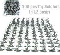 100 pcs Military Plastic Toy Soldiers Army Men Silver 1:72 Figures 12 Poses