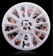 3d Metal Christmas Nail Art Decoration Slice Stickers Decal Foil Wheel Black HS