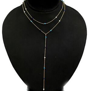 Moonstone Turquoise Double String lariat Necklace 925 Sterling Silver Jewelry