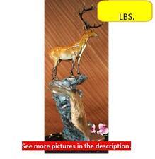Chalet Lodge Art Elk Stag Buck Deer Hunter Bronze Marble Statue Lodge Sculpture