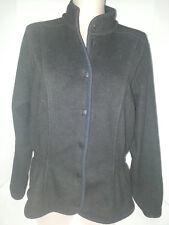 HELLY HANSEN Womens Snap Button Front Fleece Polyester Jacket Coat Large Black