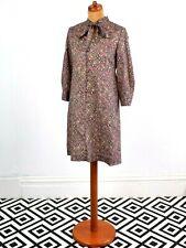 Vintage 70's / 80's Ethnic Patterned Pussybow Dress Retro Boho 10