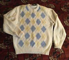 Vintage Centura Large Shetland Wool Argyle Sweater MensRn30779