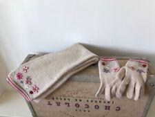 MONSOON girls lamb wool & angora embroidered scarf & gloves matching set 6-10 yr