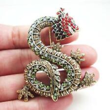 New Vintage Style Rhinestone Dragon Animal Brooch Pin Multi-color Crystal