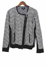 G by Giuliana Rancic Sz L Jacket Knit Rider Black / White Zip
