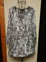 Dana Buchman Blouse 3/4 Sleeve Button Down Brown and White Design Top size S