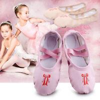 Girls Canvas Ballet Wear Dance Shoes Fitness Gymnastics Slippers Kids Dancing