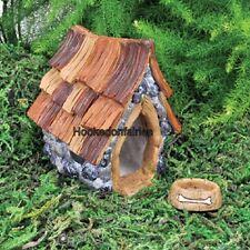 Miniature Shingletown Dog House & Bowl GO 17397   Fairy Garden Dollhouse