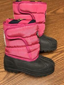 Ralph Lauren Polo 95294 Toddler Girls Pink Big 3 Waterproof Warm Snow Boots 8C
