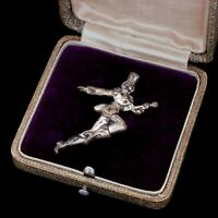 Antique Vintage Deco Sterling Silver Figural Woman Majorette Baton Pin Brooch
