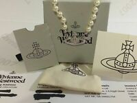 💖 VIVIENNE WESTWOOD CHOKER NECKLACE PEARL BAS RELIEF SILVER +POUCH +BOX - NEW