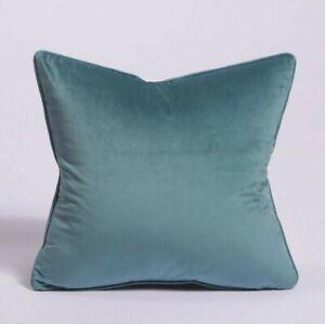 "Aqua Blue Velvet Cushion Cover Pillow Case with Piped Edges Zip 18"" x 18"""