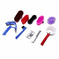 Horse Grooming Kit Equestrian Horse Brush Comb Care Sweat Scraper Hoof Pick Bag