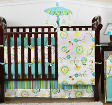 Cheap Unique Designer Turquoise and Lime 9p Baby Girl Crib Bedding Comforter Set